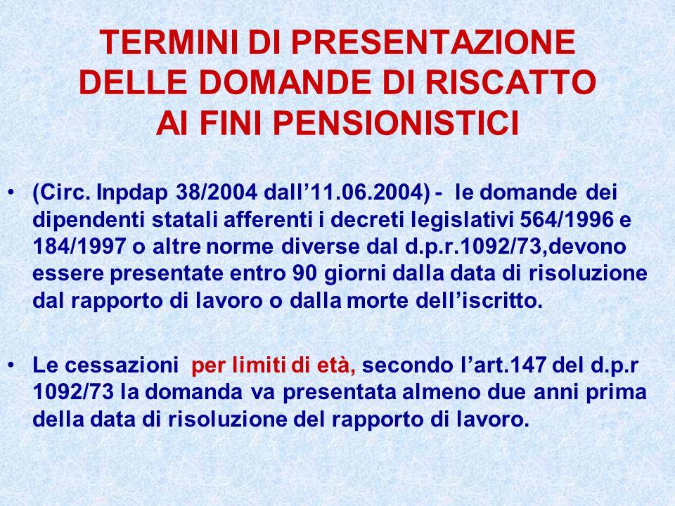 TERMINI DI PRESENTAZIONE DELLE DOMANDE DI RISCATTO AI FINI PENSIONISTICI