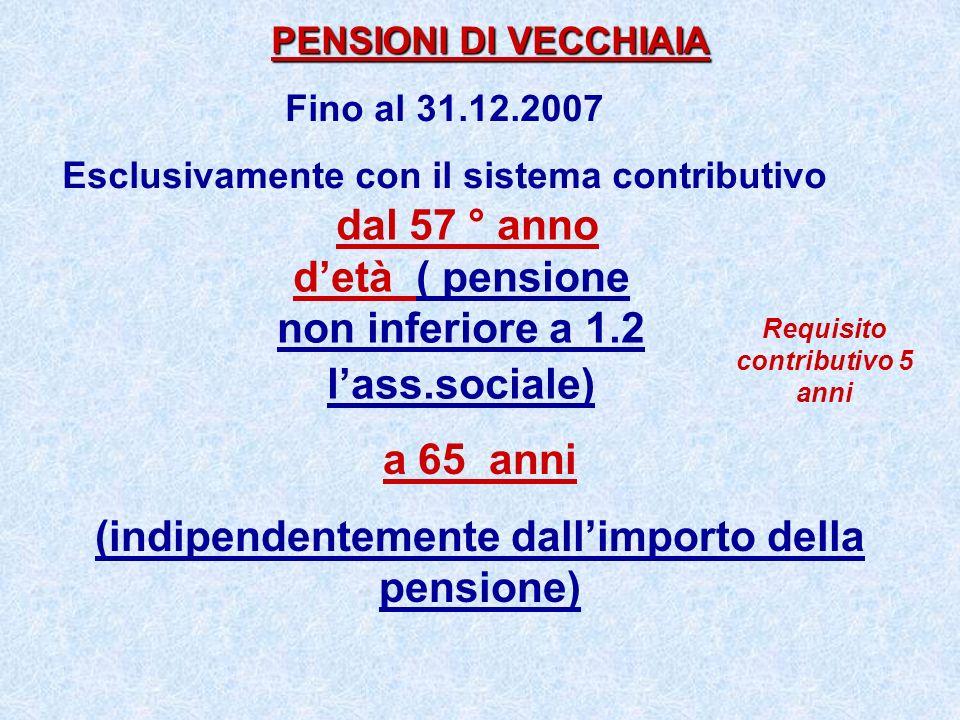 dal 57 ° anno d'età ( pensione non inferiore a 1.2 l'ass.sociale)