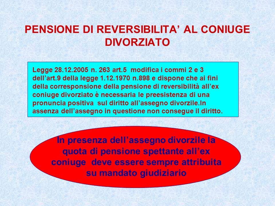 PENSIONE DI REVERSIBILITA' AL CONIUGE DIVORZIATO