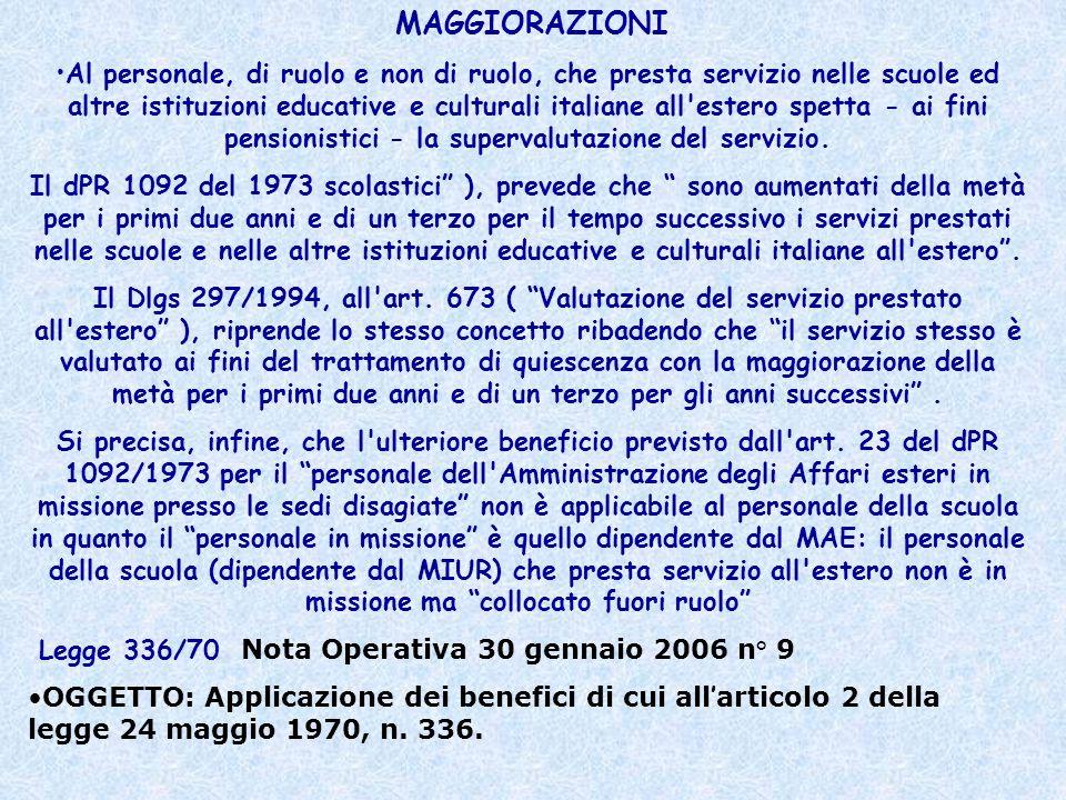 Legge 336/70 Nota Operativa 30 gennaio 2006 n° 9