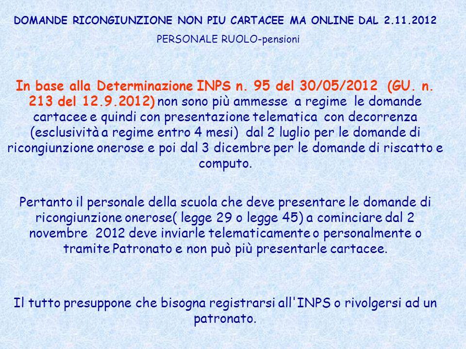 DOMANDE RICONGIUNZIONE NON PIU CARTACEE MA ONLINE DAL 2.11.2012