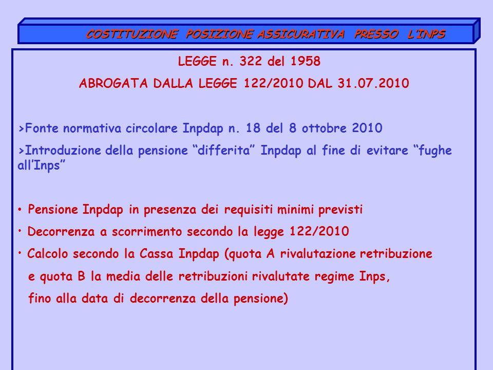 LEGGE n. 322 del 1958 ABROGATA DALLA LEGGE 122/2010 DAL 31.07.2010