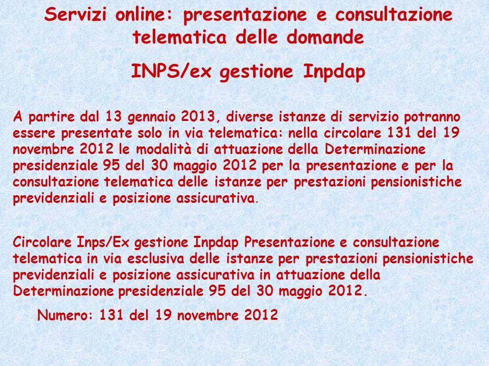 Servizi online: presentazione e consultazione telematica delle domande
