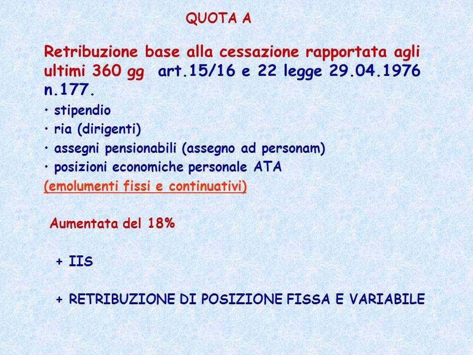 QUOTA A Retribuzione base alla cessazione rapportata agli ultimi 360 gg art.15/16 e 22 legge 29.04.1976 n.177.