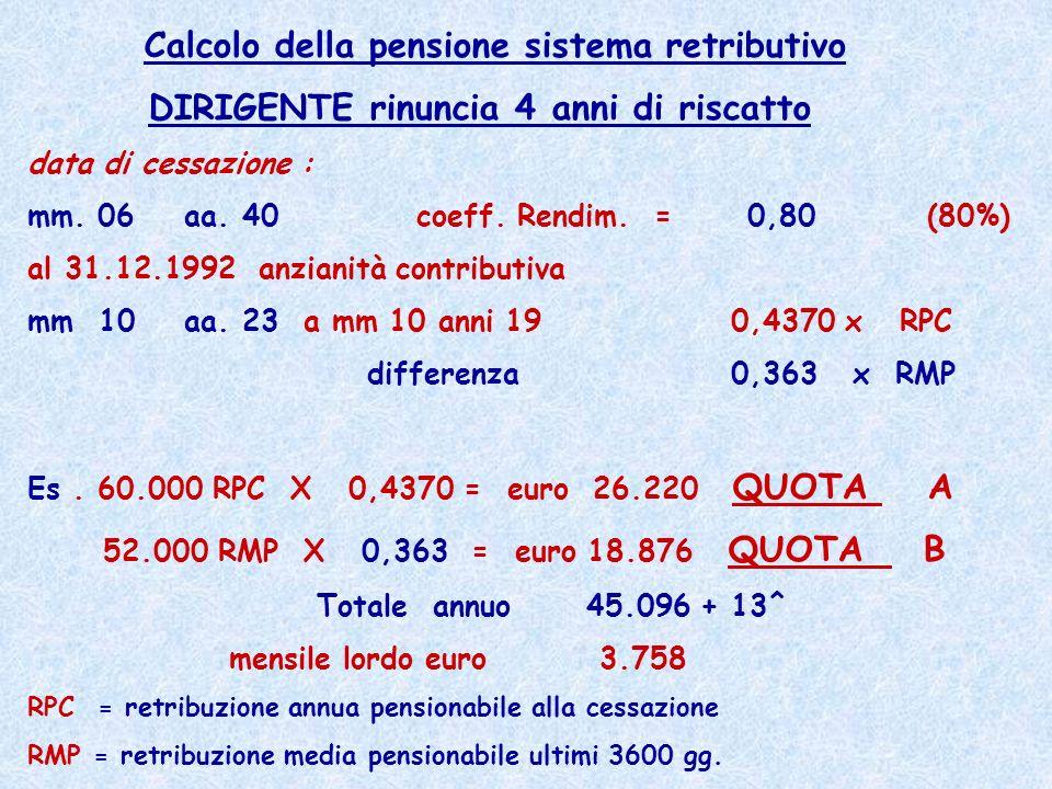 Calcolo della pensione sistema retributivo
