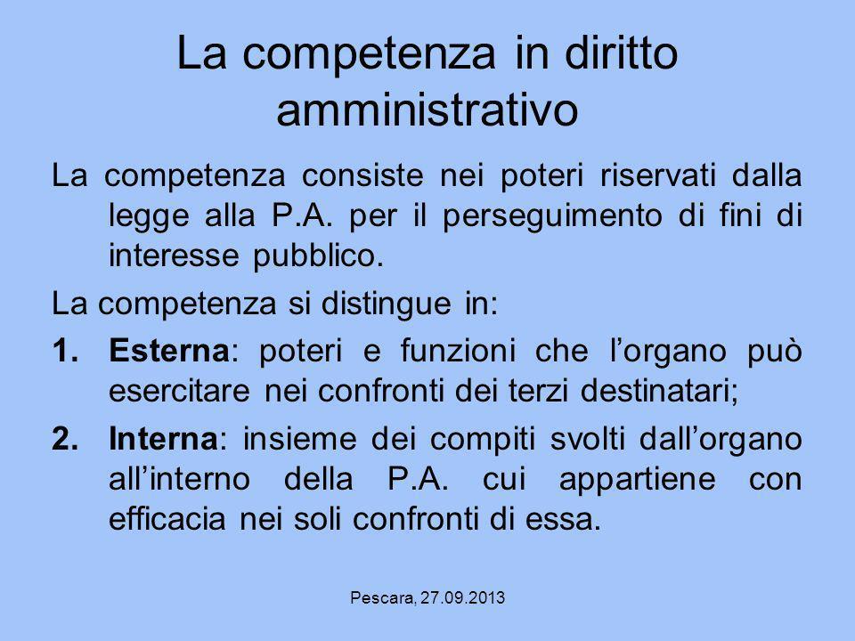 La competenza in diritto amministrativo