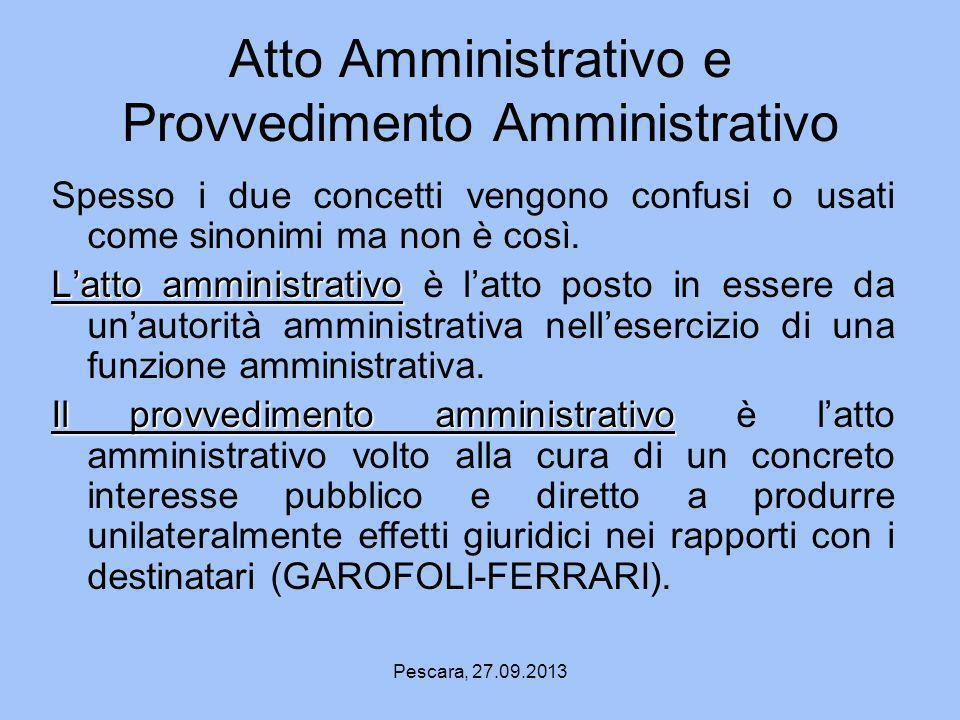 Atto Amministrativo e Provvedimento Amministrativo