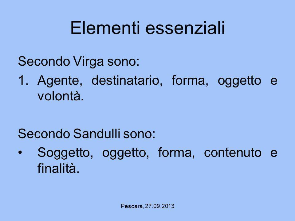 Elementi essenziali Secondo Virga sono:
