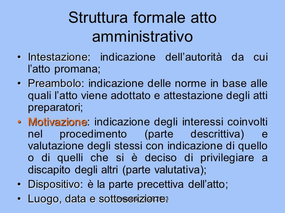 Struttura formale atto amministrativo