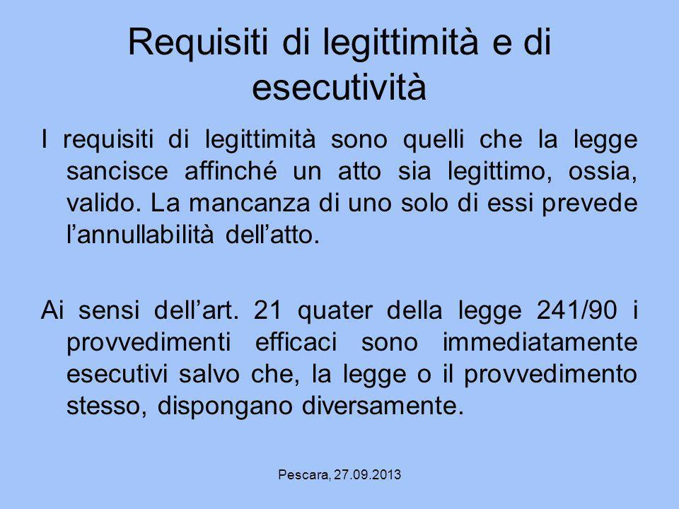 Requisiti di legittimità e di esecutività