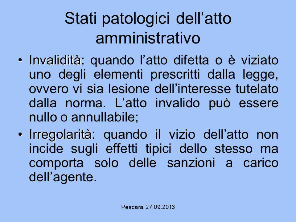 Stati patologici dell'atto amministrativo