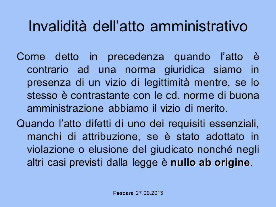 Invalidità dell'atto amministrativo
