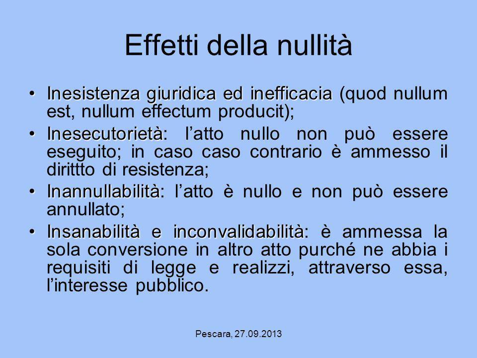 Effetti della nullità Inesistenza giuridica ed inefficacia (quod nullum est, nullum effectum producit);