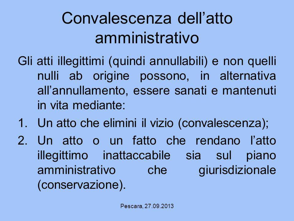 Convalescenza dell'atto amministrativo