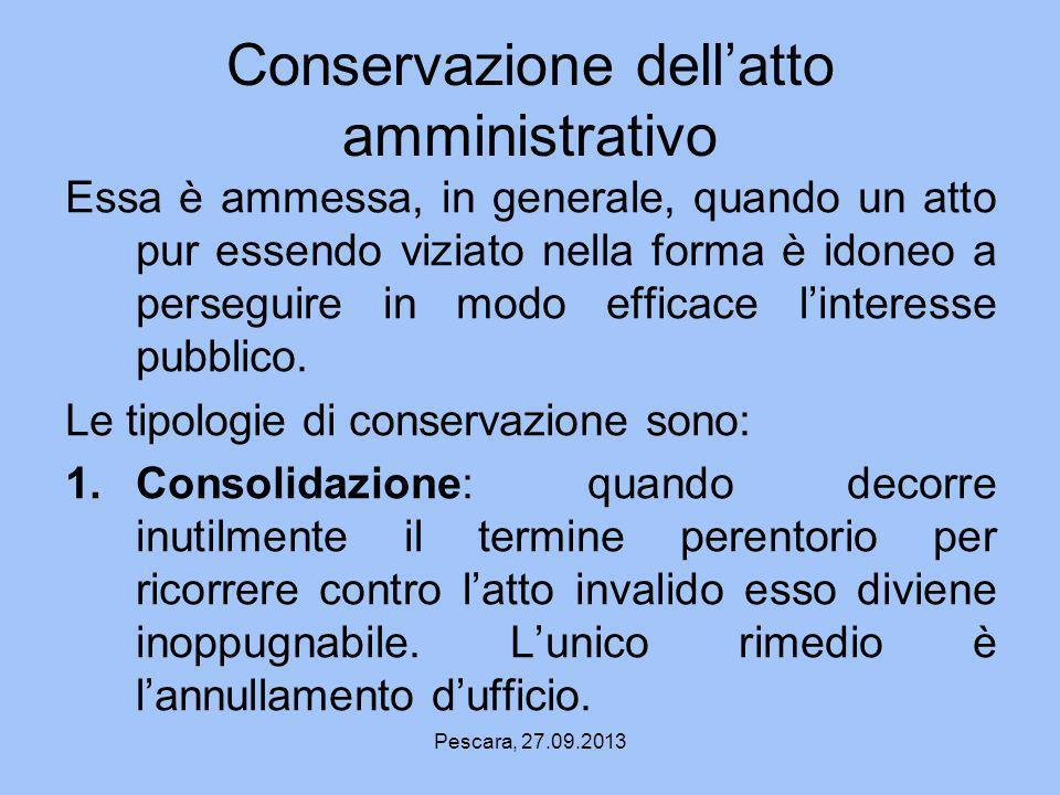 Conservazione dell'atto amministrativo