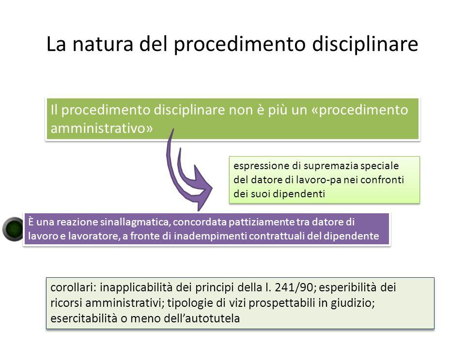 La natura del procedimento disciplinare