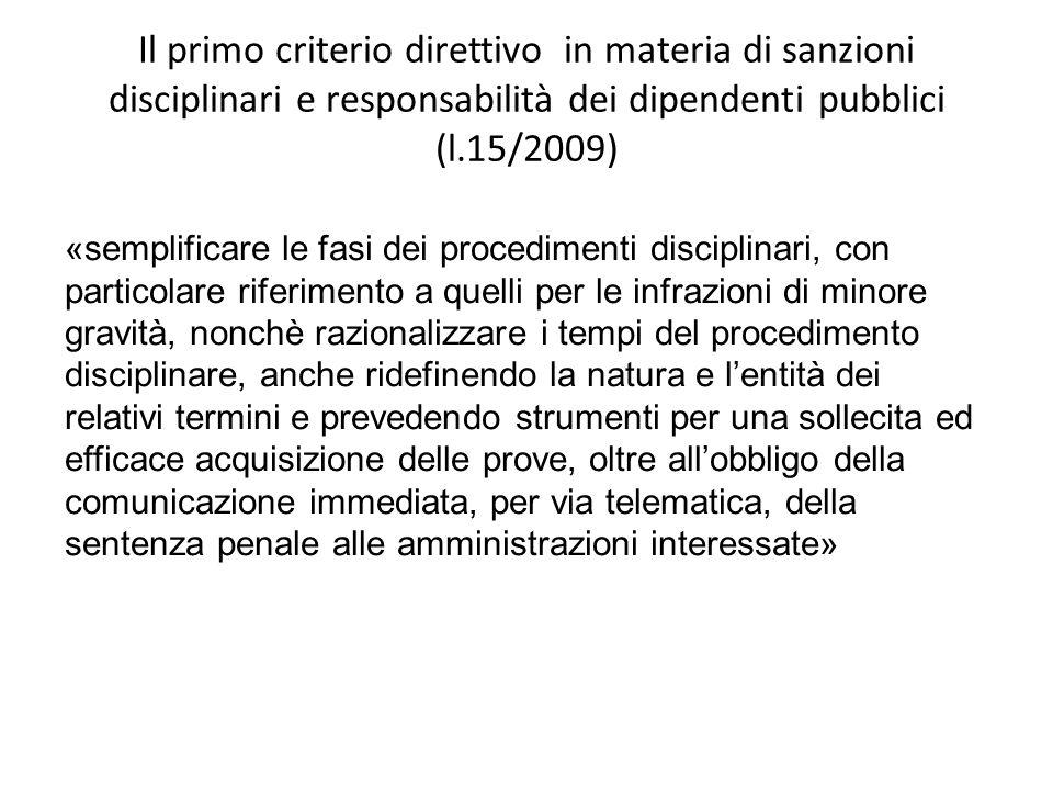 Il primo criterio direttivo in materia di sanzioni disciplinari e responsabilità dei dipendenti pubblici (l.15/2009)