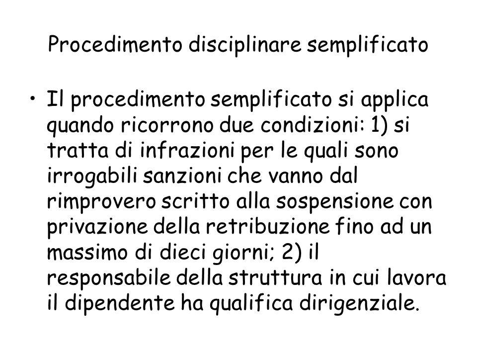 Procedimento disciplinare semplificato