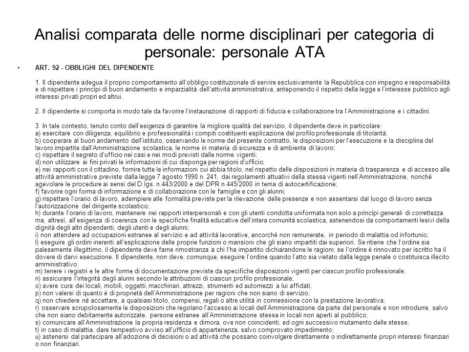 Analisi comparata delle norme disciplinari per categoria di personale: personale ATA