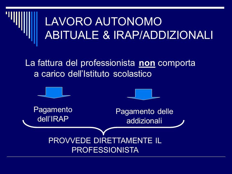 LAVORO AUTONOMO ABITUALE & IRAP/ADDIZIONALI