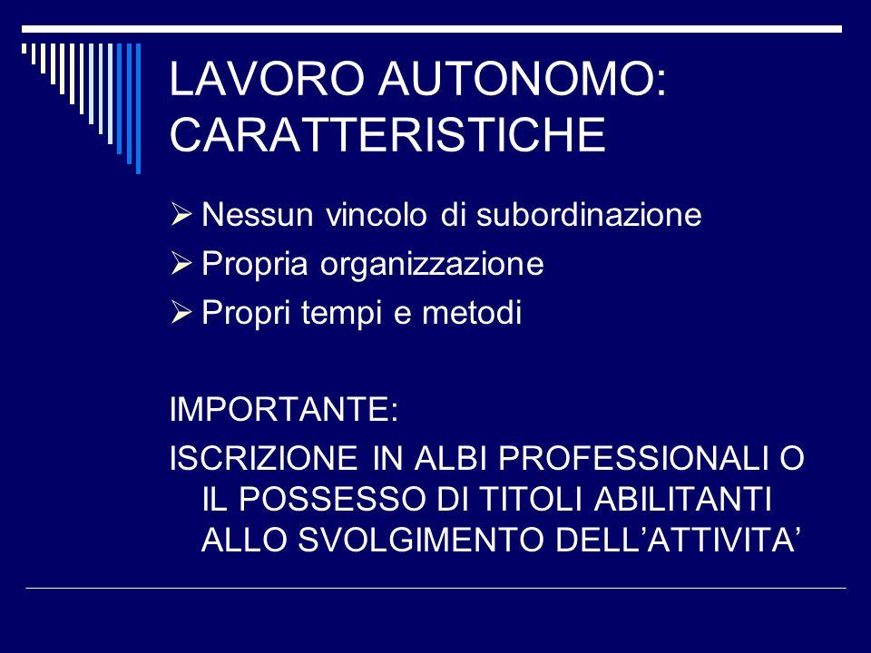 LAVORO AUTONOMO: CARATTERISTICHE