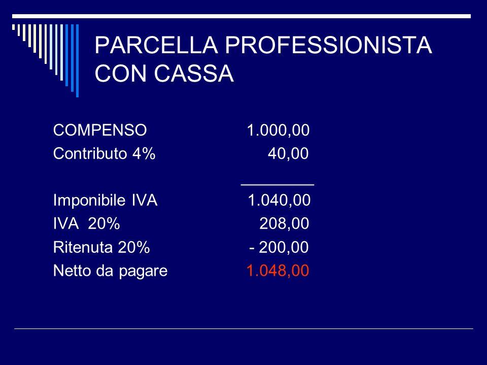 PARCELLA PROFESSIONISTA CON CASSA