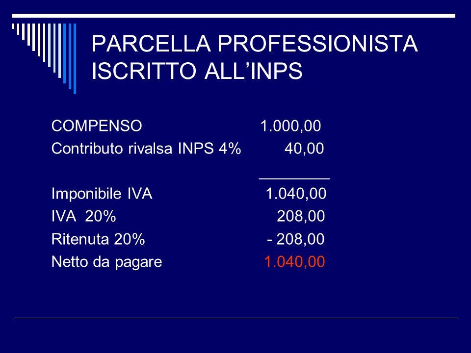 PARCELLA PROFESSIONISTA ISCRITTO ALL'INPS