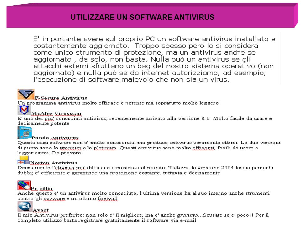 UTILIZZARE UN SOFTWARE ANTIVIRUS