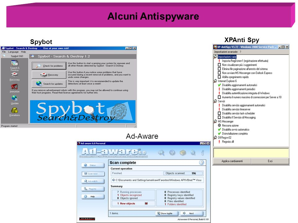 Alcuni Antispyware Spybot XPAnti Spy Ad-Aware