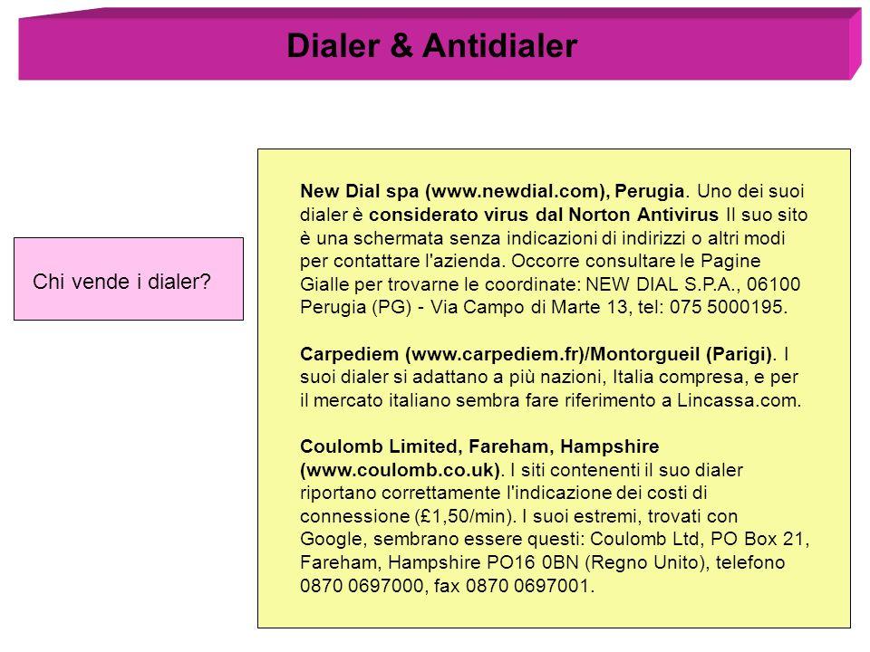 Dialer & Antidialer Chi vende i dialer