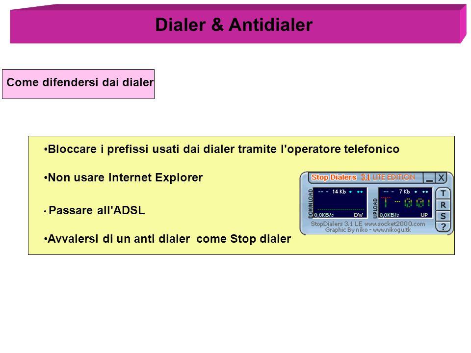 Dialer & Antidialer Come difendersi dai dialer
