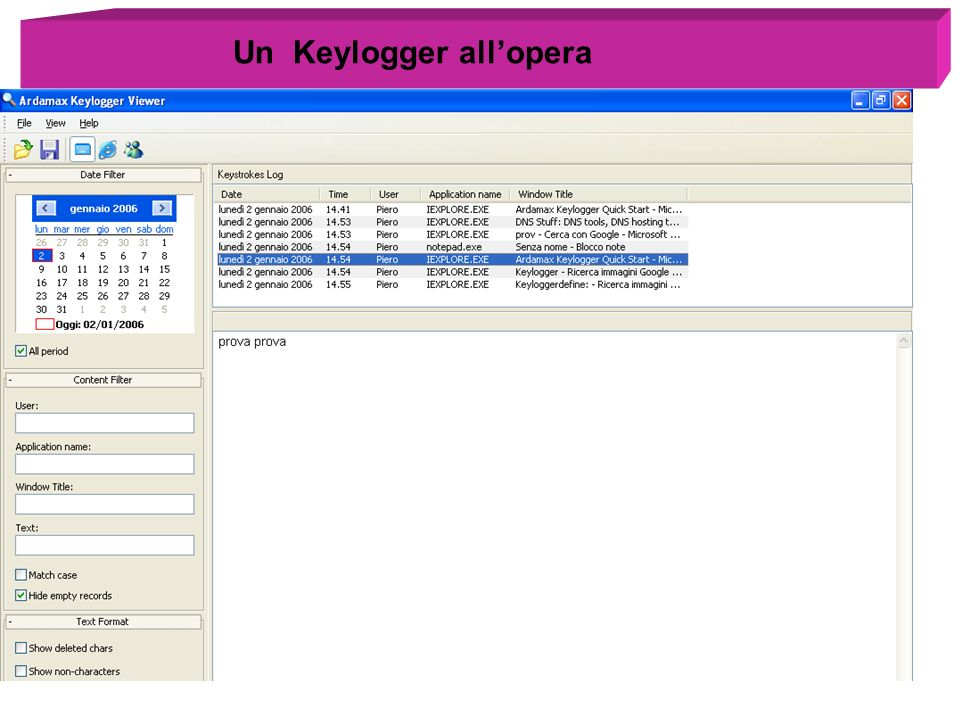 Un Keylogger all'opera