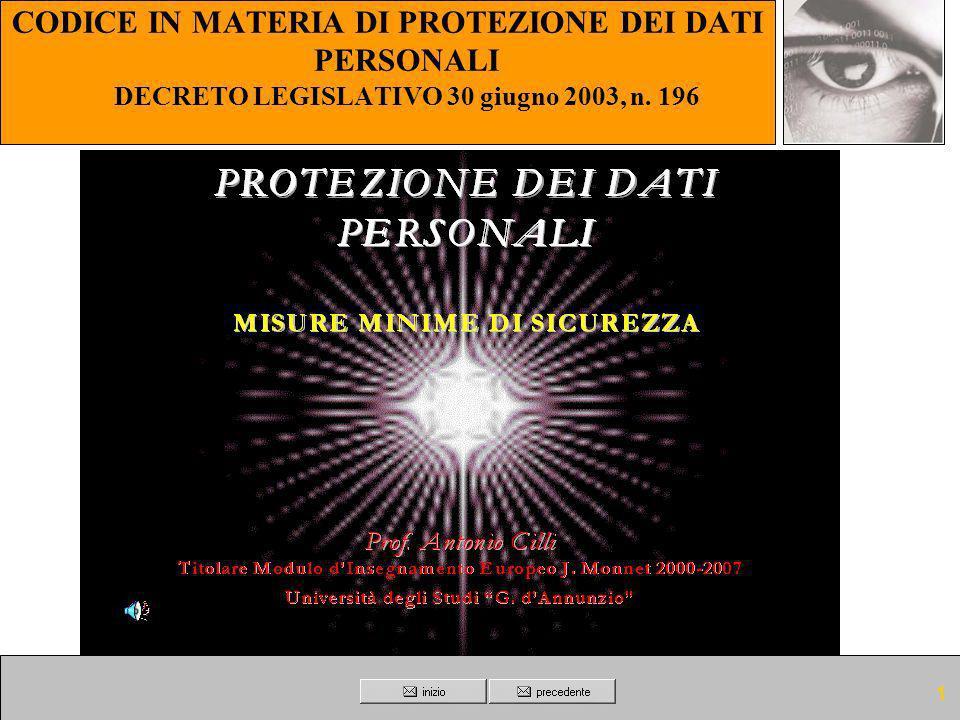 CODICE IN MATERIA DI PROTEZIONE DEI DATI PERSONALI DECRETO LEGISLATIVO 30 giugno 2003, n. 196
