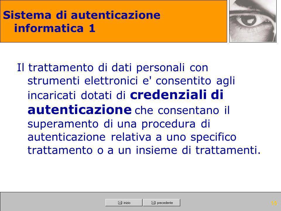 Sistema di autenticazione informatica 1