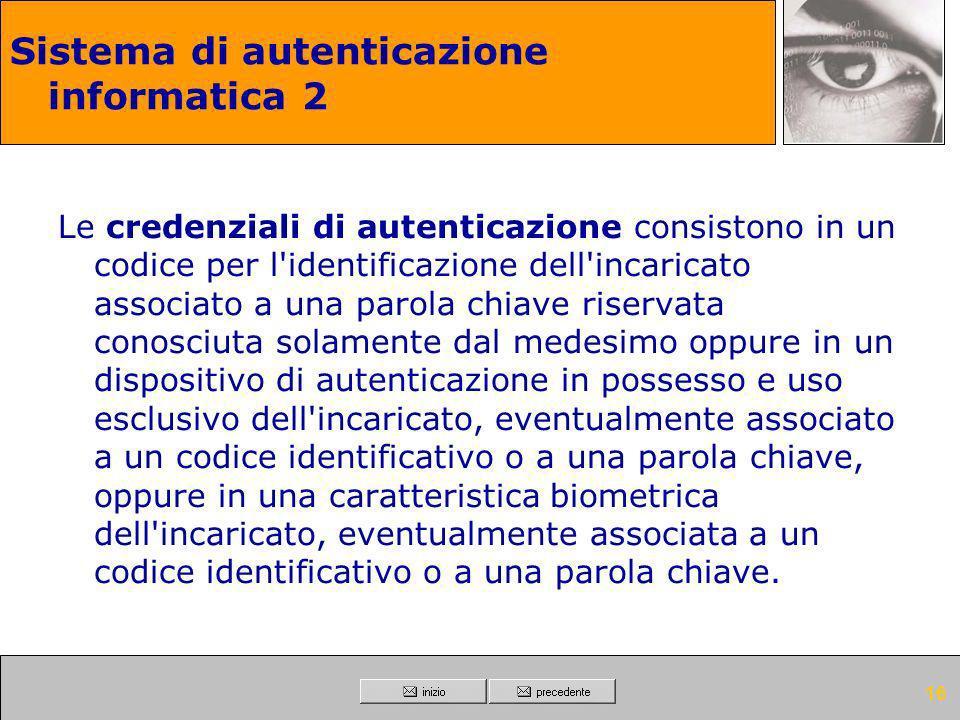Sistema di autenticazione informatica 2
