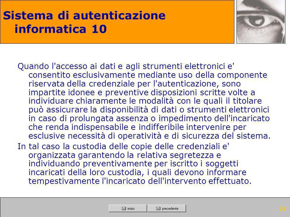 Sistema di autenticazione informatica 10