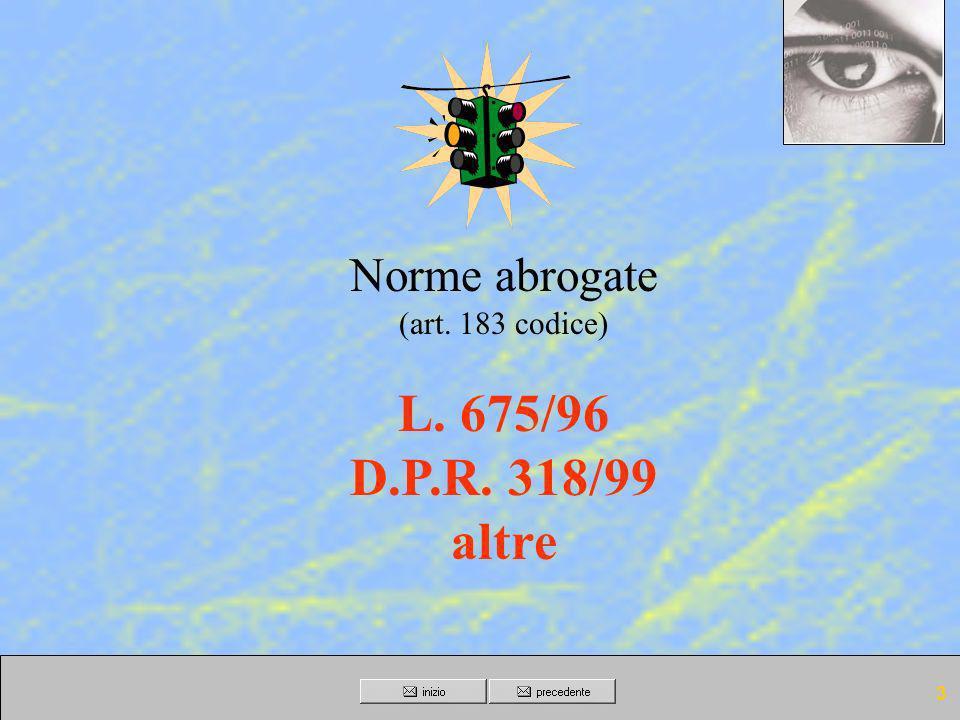 Norme abrogate (art. 183 codice) L. 675/96 D.P.R. 318/99 altre