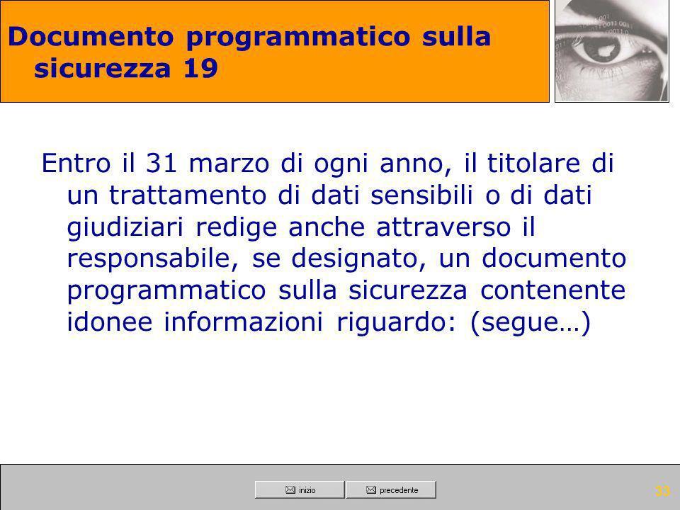 Documento programmatico sulla sicurezza 19