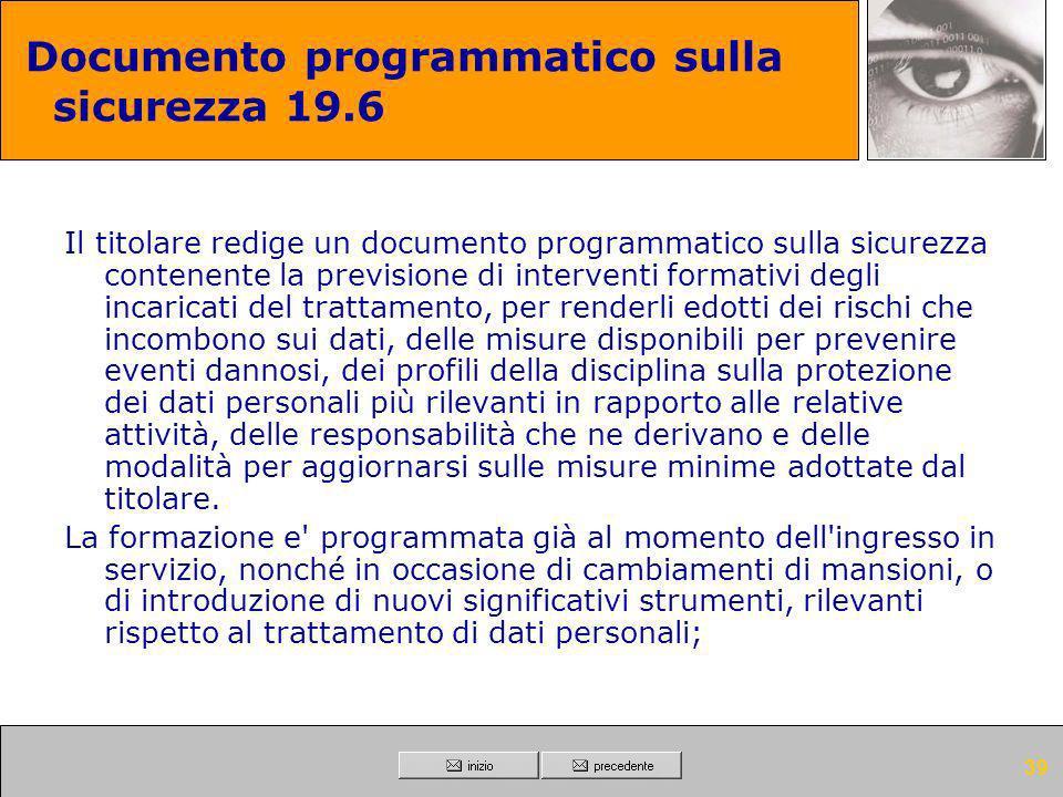 Documento programmatico sulla sicurezza 19.6