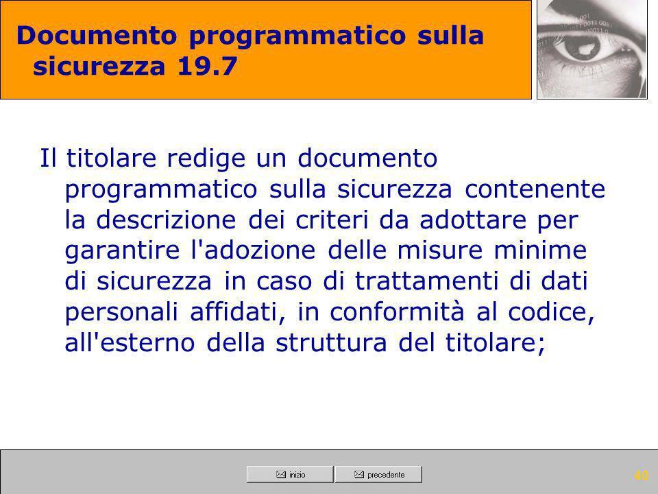 Documento programmatico sulla sicurezza 19.7