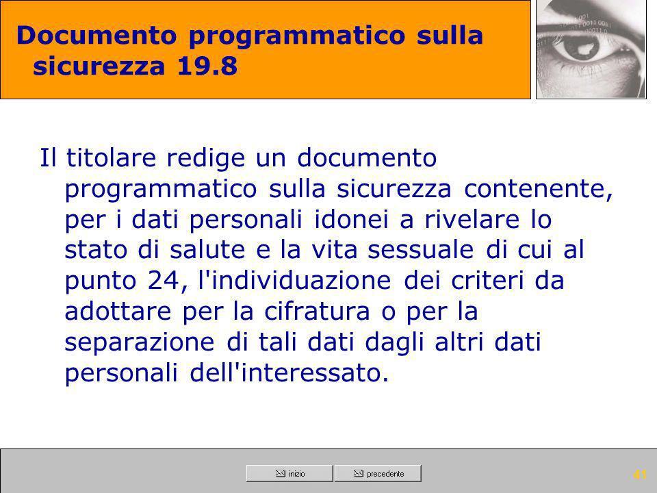 Documento programmatico sulla sicurezza 19.8