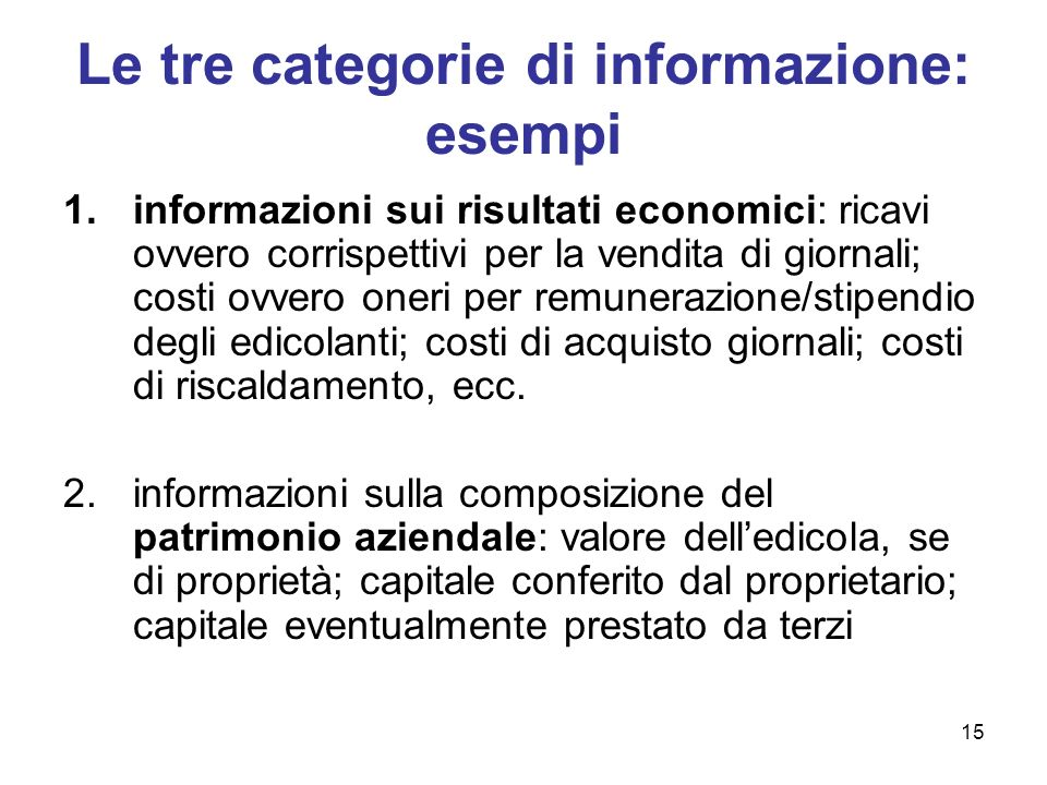Le tre categorie di informazione: esempi