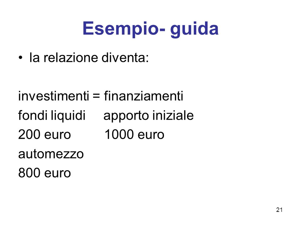 Esempio- guida la relazione diventa: investimenti = finanziamenti
