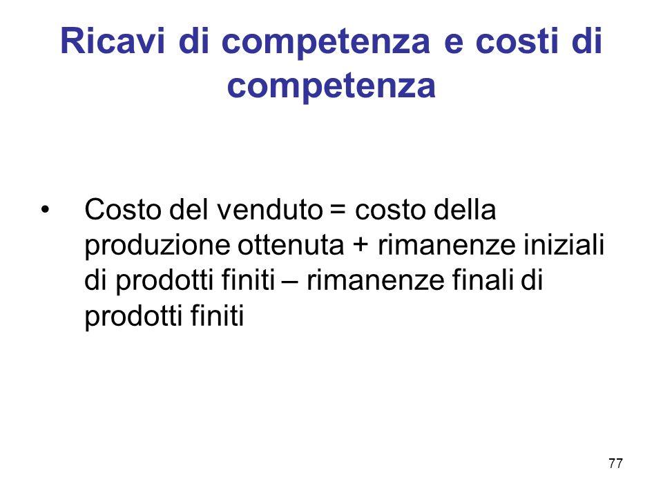 Ricavi di competenza e costi di competenza