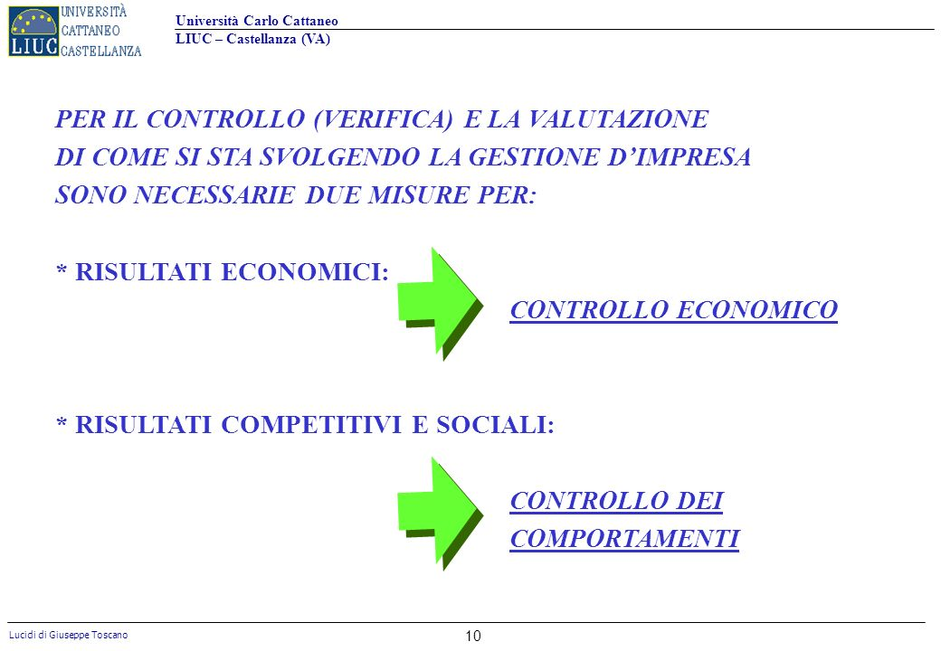 PER IL CONTROLLO (VERIFICA) E LA VALUTAZIONE