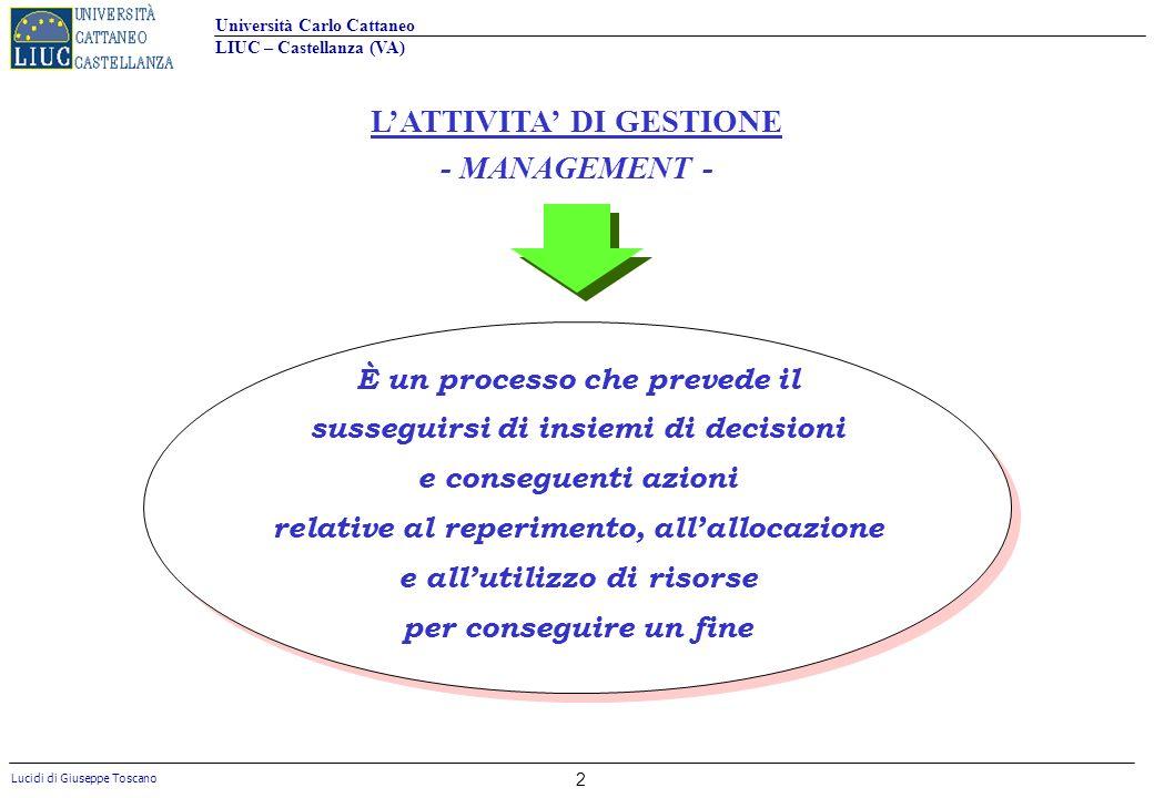 L'ATTIVITA' DI GESTIONE - MANAGEMENT -