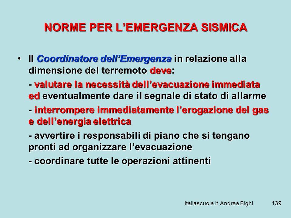NORME PER L'EMERGENZA SISMICA