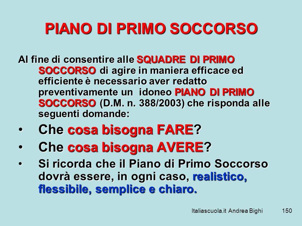 PIANO DI PRIMO SOCCORSO