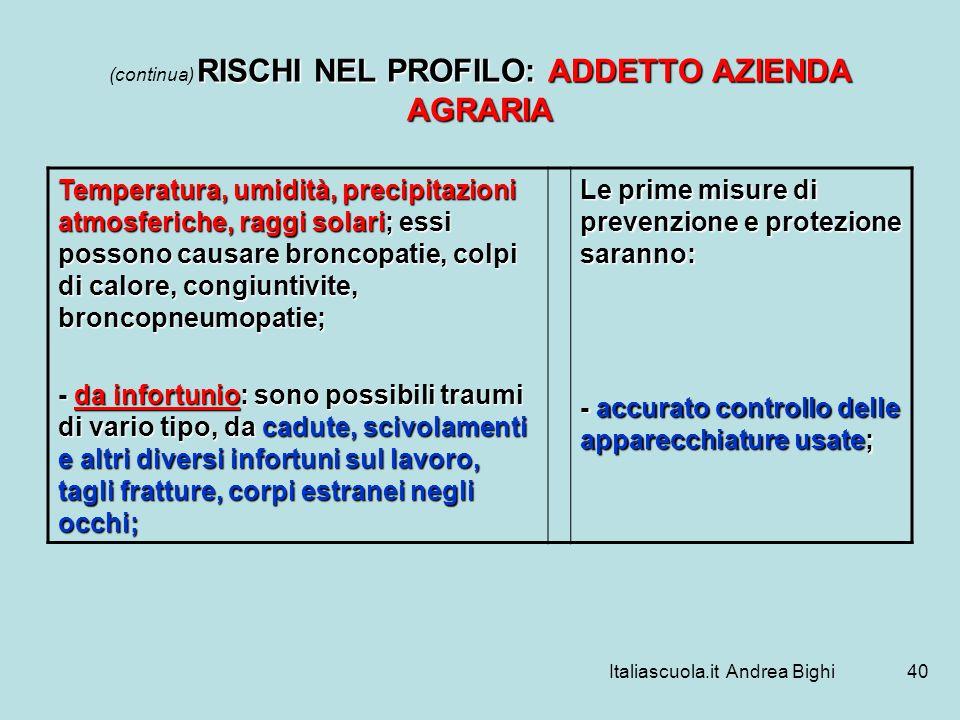 (continua) RISCHI NEL PROFILO: ADDETTO AZIENDA AGRARIA