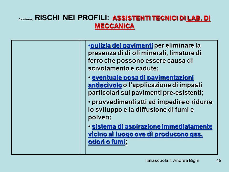 (continua) RISCHI NEI PROFILI: ASSISTENTI TECNICI DI LAB. DI MECCANICA